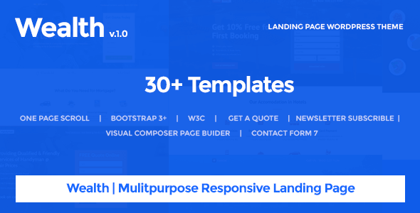 Wealth v1 2 2 multi purpose landing page wordpress theme for Wordpress theme with multiple page templates