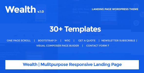 wordpress theme with multiple page templates - wealth v1 2 2 multi purpose landing page wordpress theme