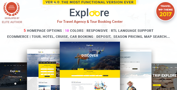 Tour Booking Travel WordPress Theme Exploore Travel Nulled
