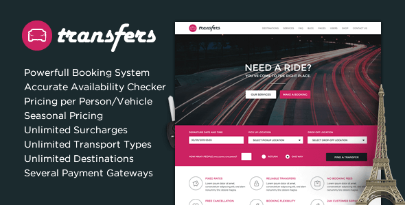 Transfers Transport And Car Hire WordPress Theme Nulled