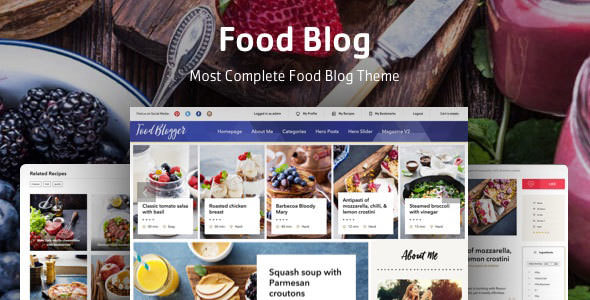 Food blog v102 wordpress theme for personal food recipe blog download free food blog wordpress theme v102 forumfinder Image collections